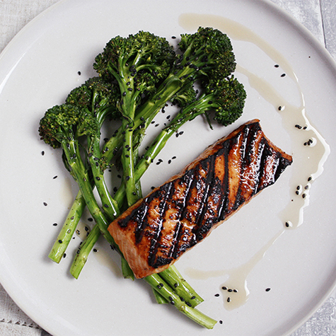 Soy & Miso Grilled Salmon with Lime & Sesame Broccoli
