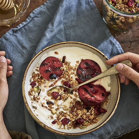 Berry Granola with Grilled Plums