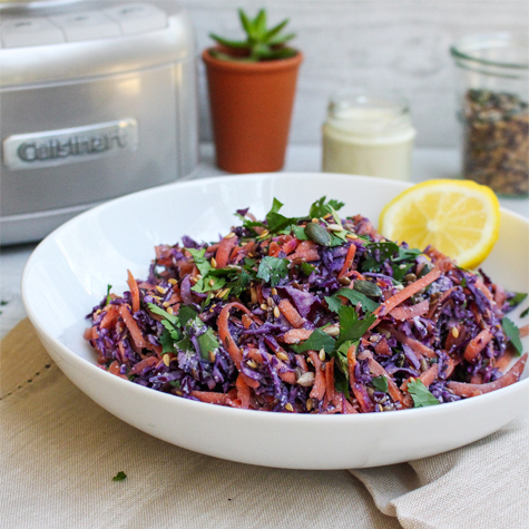 Raw Cabbage and Carrot Slaw with Creamy Cashew-Garlic Dressing