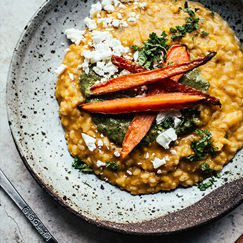 Carrot & Celeriac Risotto with Mint-Hazelnut Pesto