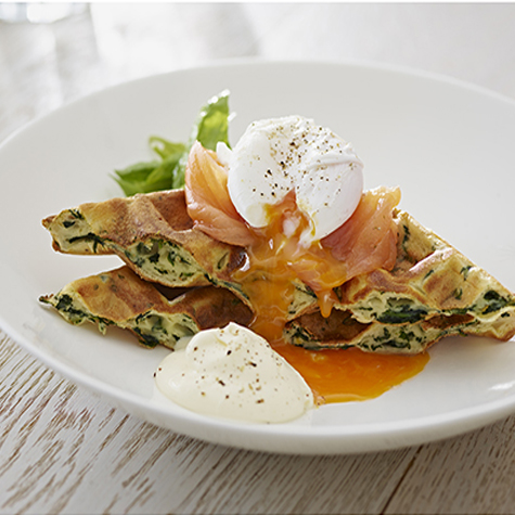 Spinach & Ricotta Waffle with Smoked Salmon