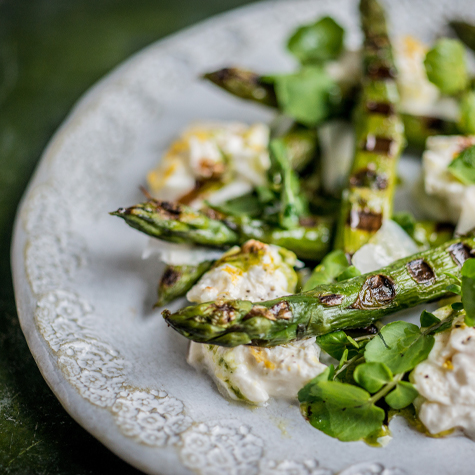 Chargrilled English Asparagus with Watercress, Burrata, Toasted Almonds and Shaved Pecorino Cheese