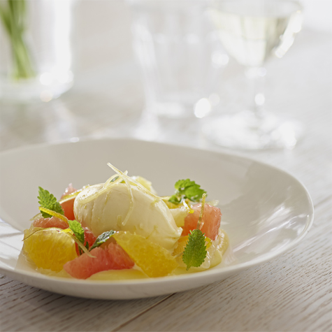 Lemon Ice Cream with Citrus Fruits and Lemon Zests