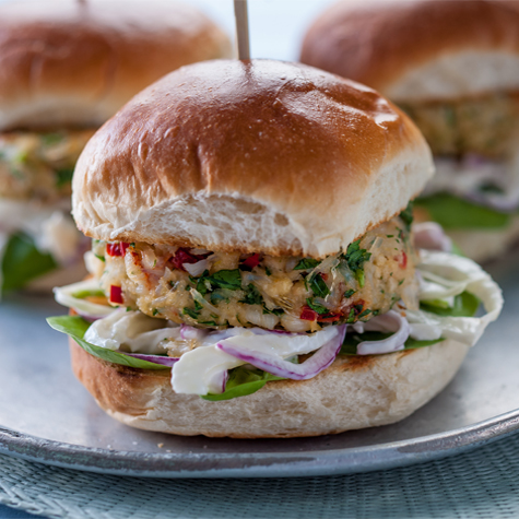 Crab Burgers with Fennel Slaw
