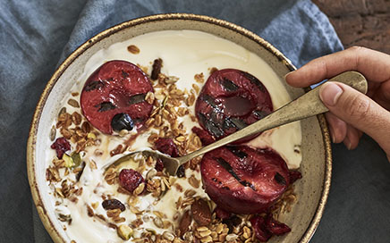 Berry Granola with Grilled Plums Recipe