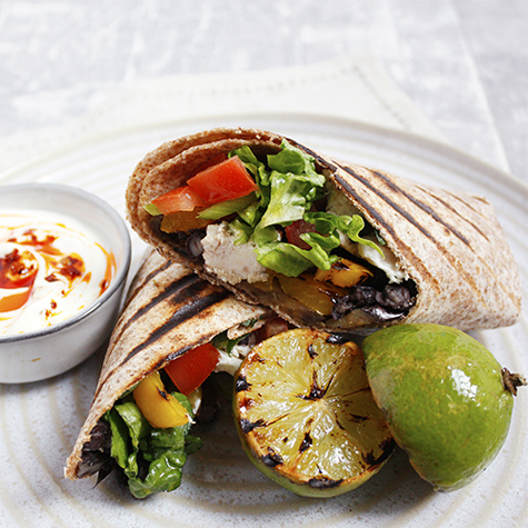 Chicken & Blackbean Burritos with Feta & Salsa