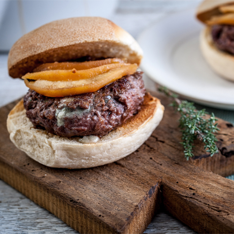 Venison Burgers with Roquefort & Quince Pickle